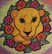 Lion Illustrations Framed Prints - Spring Lion Framed Print by Christy Brammer