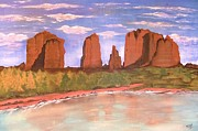 Cathedral Rock Paintings - Spring Mist at Cathedral Rock Oak Creek Sedona by Cindy Micklos