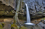 Overhang Photo Prints - Spring Morning at Hedge Creek Falls Print by Loree Johnson