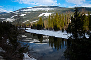 Evergreen With Snow Prints - Spring Mountain Reflection Print by Casey  Choma