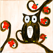 Cherry Blossoms Painting Metal Prints - Spring Owl Metal Print by Katy  Scott