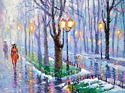 Rainy Street Painting Framed Prints - Spring park Framed Print by Dmitry Spiros