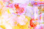 Uplifting Mixed Media Prints - Spring Peonies Collage Print by AdSpice Studios