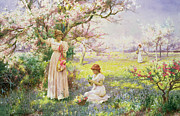 Cherry Tree Paintings - Spring   Picking Flowers by Alfred Augustus I Glendenning