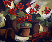 Red Geraniums Prints - Spring Planting Print by Jenny King