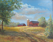 Farm Buildings Painting Originals - Spring Planting by  Luczay