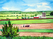 Team Paintings - Spring Plowing in Lancaster Co. PA by Ruth Bodycott