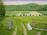 White Fence Posters - Spring Rabbit Poster by Ditz