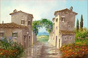 Italy Town Large Paintings - Spring rain by Luciano Torsi