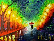 Lamppost Paintings - Spring Rain by Svilen And Lisa