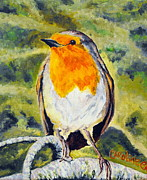 On A Branch Paintings - Spring Robin by Caroline Cunningham