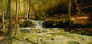 Waterscape Painting Posters - Spring Rush Poster by Linda Hunt
