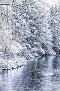 Snow Spring Prints - Spring snow along Gauley River Print by Thomas R Fletcher