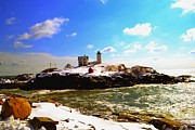 Sohier Park Framed Prints - Spring Snow at Nubble Lighthouse Framed Print by Nina-Rosa Duddy