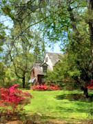 Azalea Bush Photo Prints - Spring - Suburban House With Azaleas Print by Susan Savad