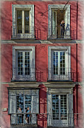 Wooden Building Prints - Spring Sunshine in Madrid Print by Joan Carroll
