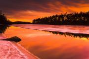 Spring Thaw Sunset, Rocky Lake, Nova Print by Irwin Barrett