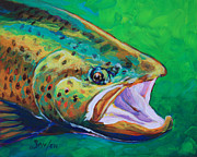 Fish Paintings - Spring Time Brown Trout- Fly Fishing Art by Mike Savlen