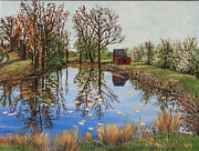 Spring Time Painting Originals - Spring time in Hollis by Veny Arsenov