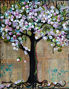 Cute Mixed Media Metal Prints - Spring Tree  Metal Print by Blenda Studio