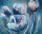 Impasto Oil Paintings - Spring Tulips by Donna Tuten