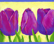 Colored Flowers Painting Posters - Spring Tulips Poster by Stephen Anderson