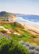 Highway Painting Posters - Spring View of Torrey Pines Poster by Mary Helmreich