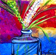 Abstract Vase Flower Print Posters - Spring Wheat Poster by Jayne Kerr