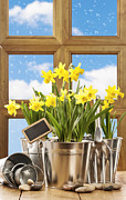 Gardening Tools Posters - Spring Window Poster by Christopher and Amanda Elwell