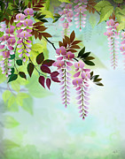 Red Leaves Mixed Media Posters - Spring Wisteria Poster by Bedros Awak