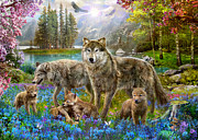 Woodland Digital Art Framed Prints - Spring Wolf Family Framed Print by Jan Patrik Krasny