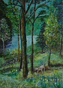Veronica Rickard Prints - Spring Woodland With Dog Print by Veronica Rickard
