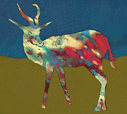 Wild Horse Mixed Media Prints - Springbok Wild Animal Stylised Pop Art Drawing Potrait Poster Print by Kim Wang