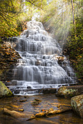 Smokeys Posters - Springtime at Benton Falls Poster by Debra and Dave Vanderlaan