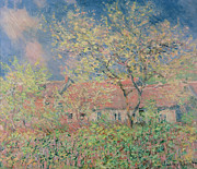 Barn Print Framed Prints - Springtime at Giverny Framed Print by Claude Monet