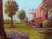 Library Painting Originals - Springtime at the Library by Rita Brown