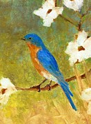 Birds And Flowers Posters - Springtime Bluebird Poster by Robert Stump