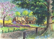 Country Cottage Drawings Prints - Springtime Cottage Print by Carol Wisniewski