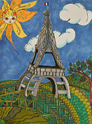 Eiffel Tower Drawings Metal Prints - Springtime in Paris Metal Print by Alexandra Benson