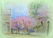 Buildings Pastels - Springtime in the park by Patricia Blanton