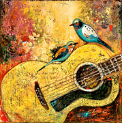 Acoustic Guitar Painting Originals - Springtime Joy by Shijun Munns