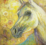 White Horse Paintings - Springtime Joy by Silvana Gabudean