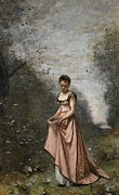 Female Prints - Springtime of Life Print by Jean Baptiste Camille Corot
