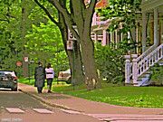 Springtime Stroll Through Beautiful Tree Lined Outremont Montreal Street Scene Art By Carole Spandau Print by Carole Spandau
