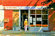 Corner Stores Paintings - Springtime Stroll To Zinmans Montreal Meat Market Fruiterie And Grocery Store Art By Carole Spandau  by Carole Spandau