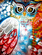 Colorful Owl Paintings - Sprinkles by Amy Sorrell
