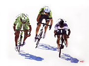 Tour De France Paintings - Sprinters Effort by Shirley  Peters