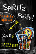 Ice Pastels Posters - Spritz Party Happy Hour - Aperitif Venice Italy Poster by Arte Venezia