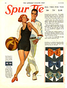 Swimsuits  Swimming Costumes Posters - Spur Tie 1929 1920s Usa Mens Ties Poster by The Advertising Archives