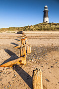 Lighthouse Sea Prints - Spurn Point Lighthouse and Sea Defences Print by Colin and Linda McKie